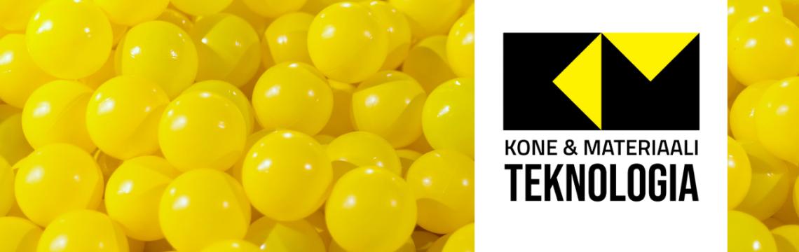 Keltaisia muovipalloja ja Kone- ja materiaaliteknologia logo